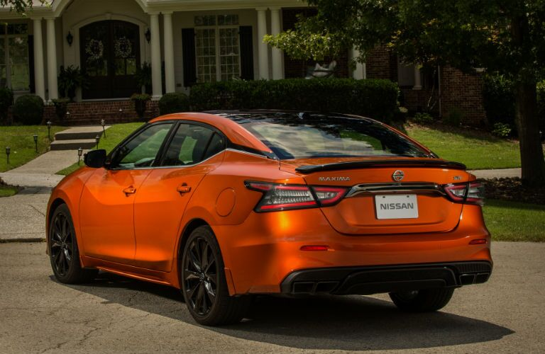 rear view of an orange 2020 Nissan Maxima