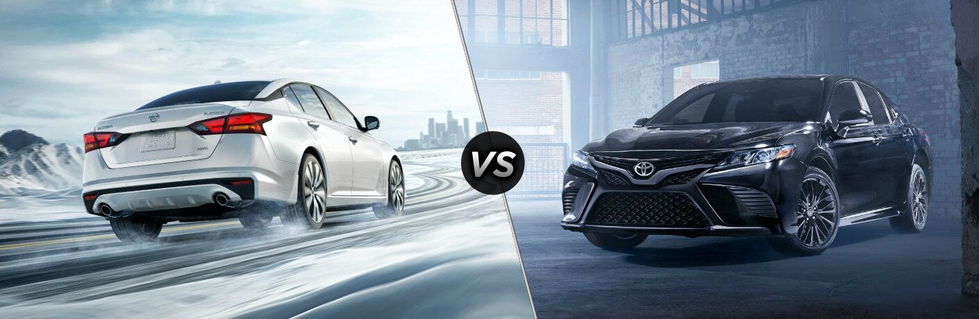 """White 2020 Nissan Altima and black 2020 Toyota Camry, separated by a diagonal line and a """"VS"""" logo."""