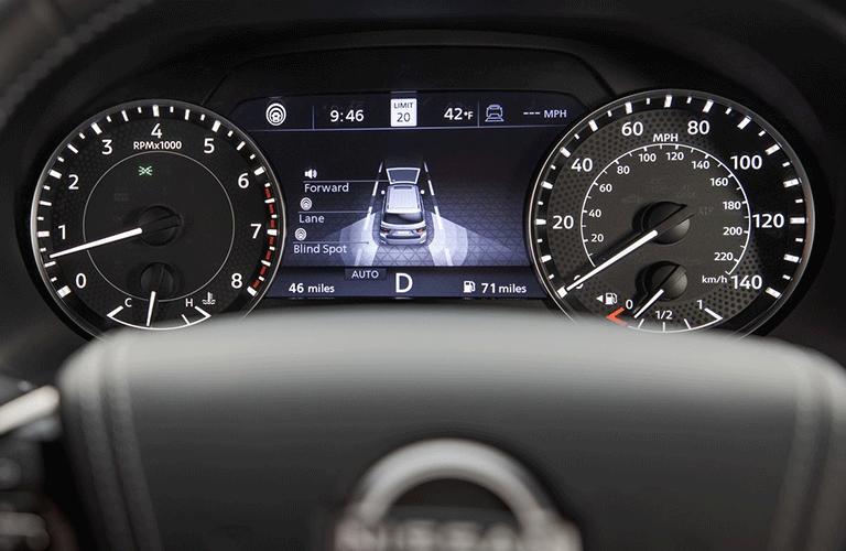 Close up on the dashboard gauge display inside 2021 Nissan Armada