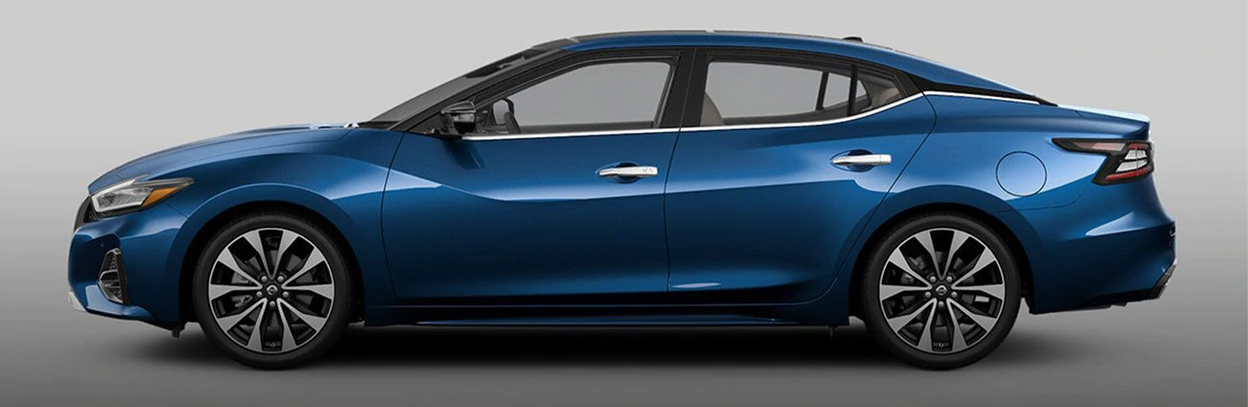 Side view of a blue 2021 Nissan Maxima