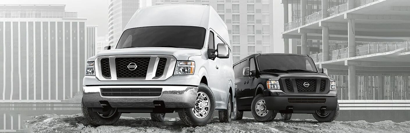 Two 2021 Nissan NV Cargo Van models hanging out