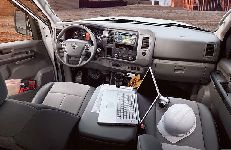 Assorted work implements inside 2021 Nissan NV Cargo Van