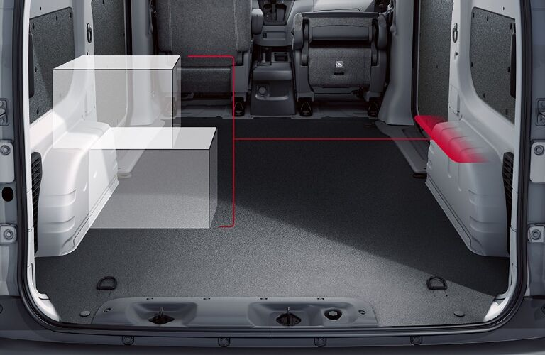 Cargo area of 2021 Nissan NV200 with mysterious diagram