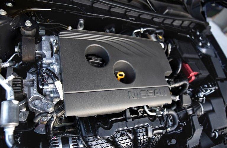 Engine under hood of 2021 Nissan Altima