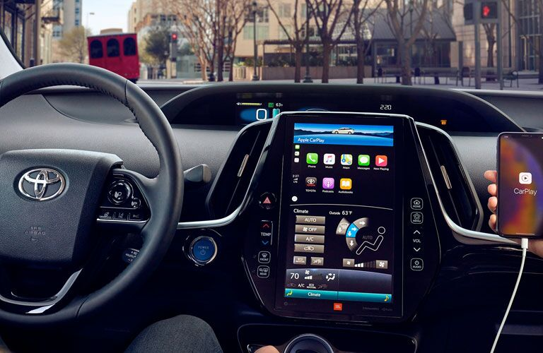 Front infotainment system inside a 2020 Toyota Prius Prime