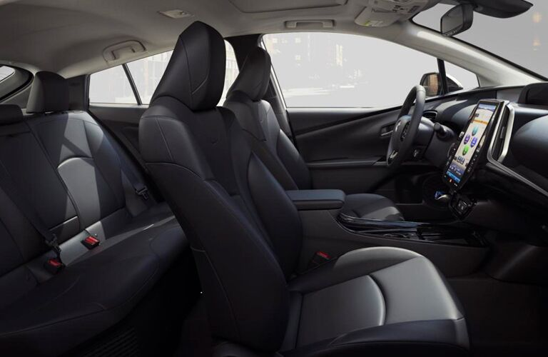 side view of the full interior of a 2019 Toyota Prius