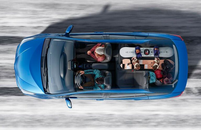 birds eye view of a 2019 Toyota Prius full of people and gear
