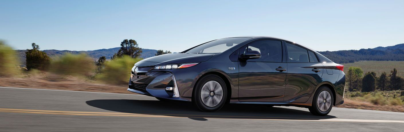 side view of a gray 2019 Toyota Prius Prime