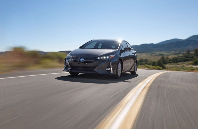 front view of a gray 2019 Toyota Prius Prime