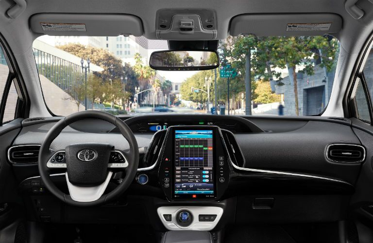 driver dash and infotainment system of a 2019 Toyota Prius Prime