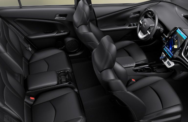high angle view of the full interior of a 2019 Toyota Prius Prime