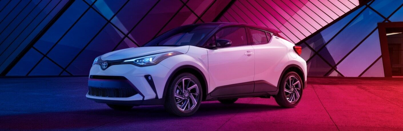 2020 Toyota C-HR bathed in multicolored light