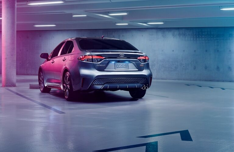 rear view of a silver 2020 Toyota Corolla