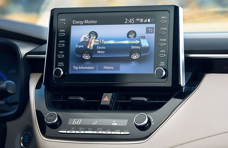 infotainment system in a 2020 Toyota Corolla Hybrid