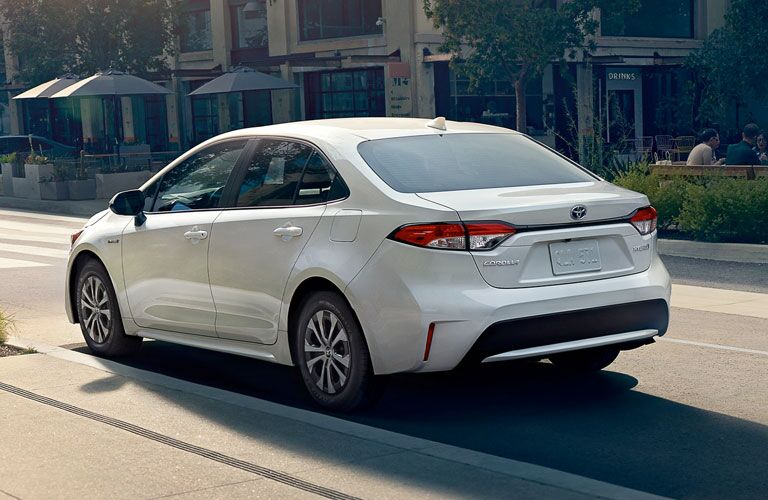 rear view of a white 2020 Toyota Corolla Hybrid