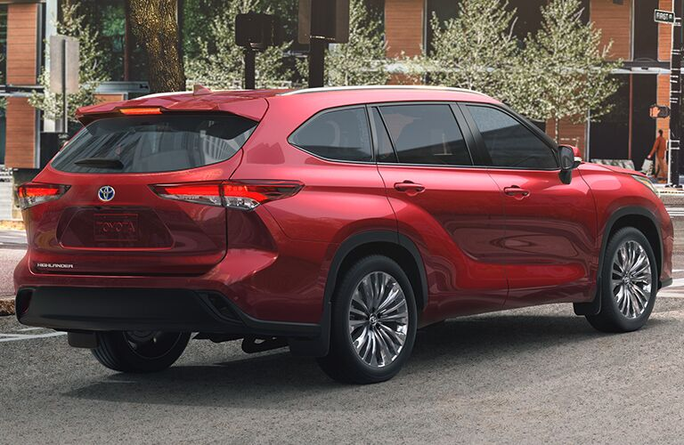 rear view of a red 2020 Toyota Highlander Hybrid