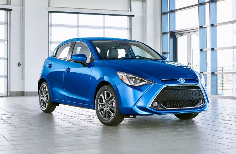 front view of a blue 2020 Toyota Yaris Hatchback