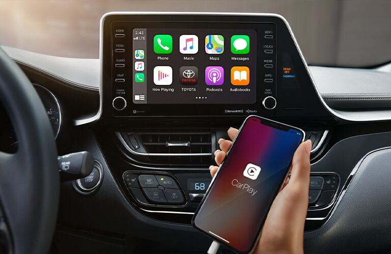 Infotainment system with Apple CarPlay inside 2021 Toyota C-HR