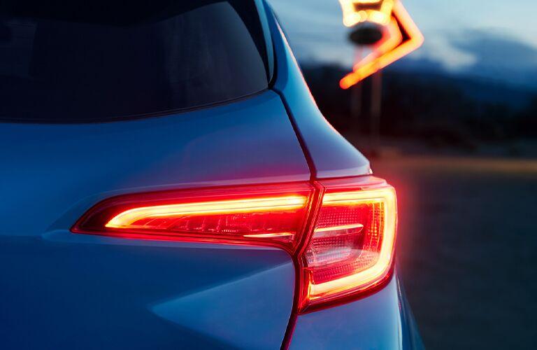 Illuminated taillight of a 2021 Toyota Corolla Hatchback