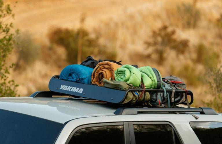 Roof rack holds sleeping bags on 2021 Toyota 4Runner