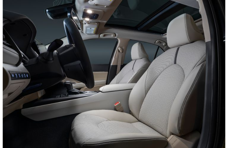 Side view of front seats inside 2021 Toyota Camry