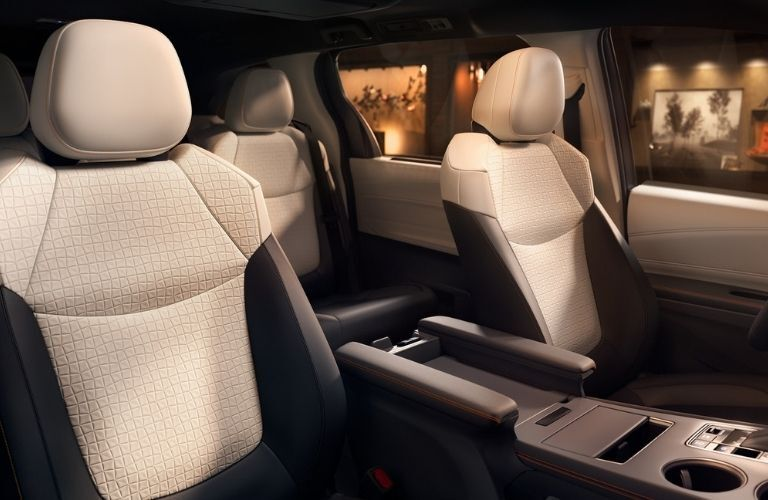 2021 Toyota Sienna XSE interior shown in Moonstone with Gray Flannel SofTex®  trim and available XSE Plus Package and Entertainment Package