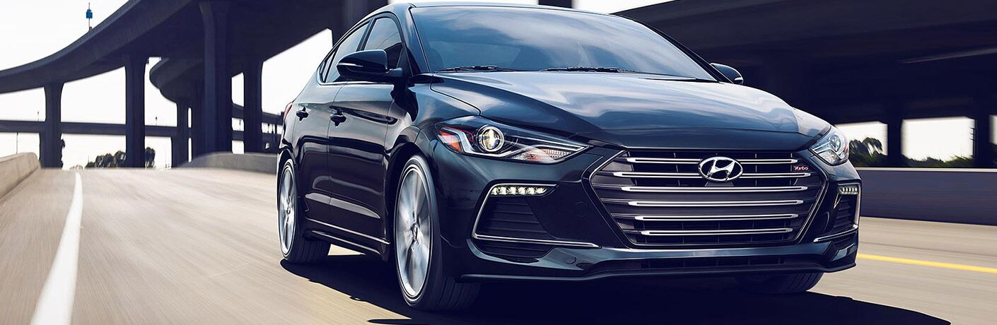 front view of a black 2018 Hyundai Elantra Sedan