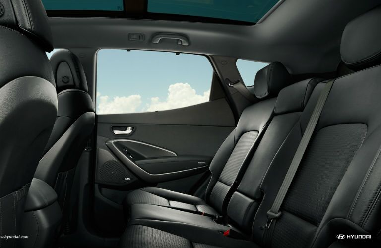 side view of the rear passenger space in a 2018 Hyundai Santa Fe Sport