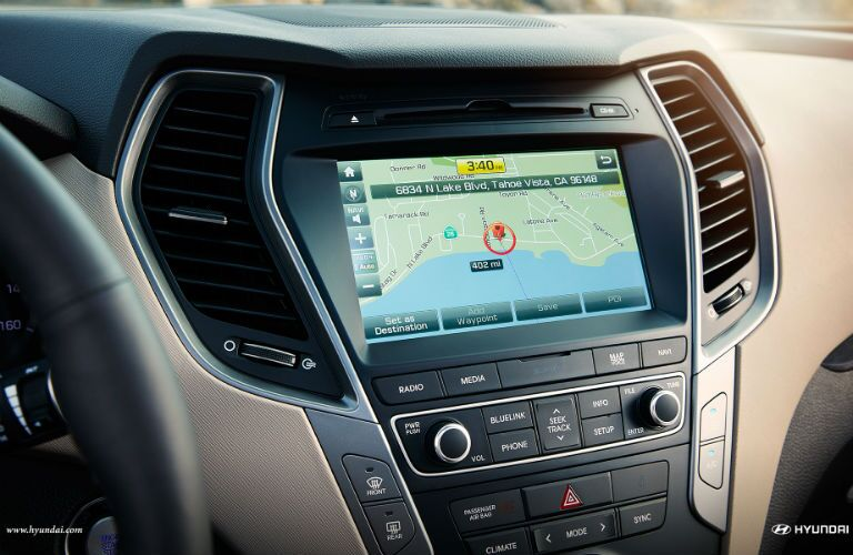 close up of the infotainment system in a 2018 Hyundai Santa Fe Sport