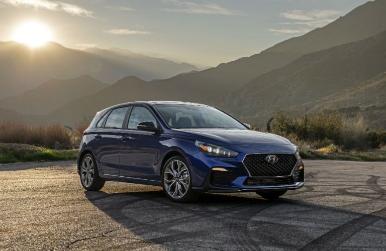front view of a blue 2019 Hyundai Elantra GT N Line