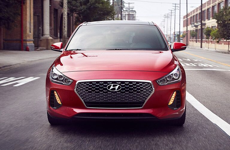 front view of a red 2019 Hyundai Elantra GT
