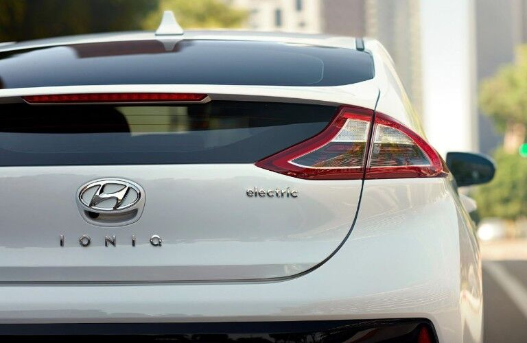 rear view of a white 2019 Hyundai Ioniq Electric