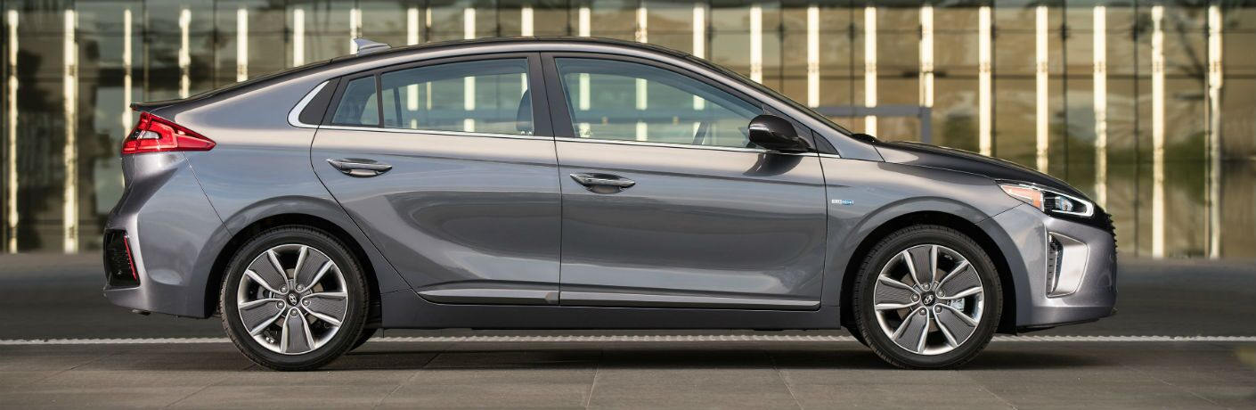 side view of a silver 2019 Hyundai Ioniq Hybrid