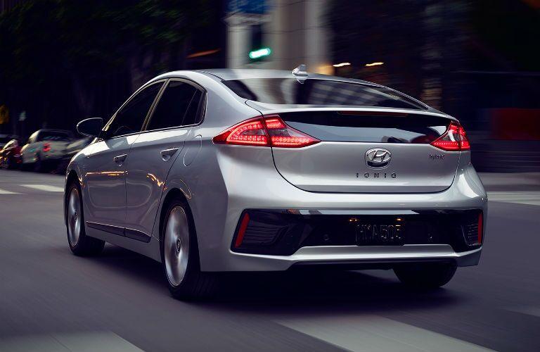 rear view of a silver 2019 Hyundai Ionic Plug-In Hybrid