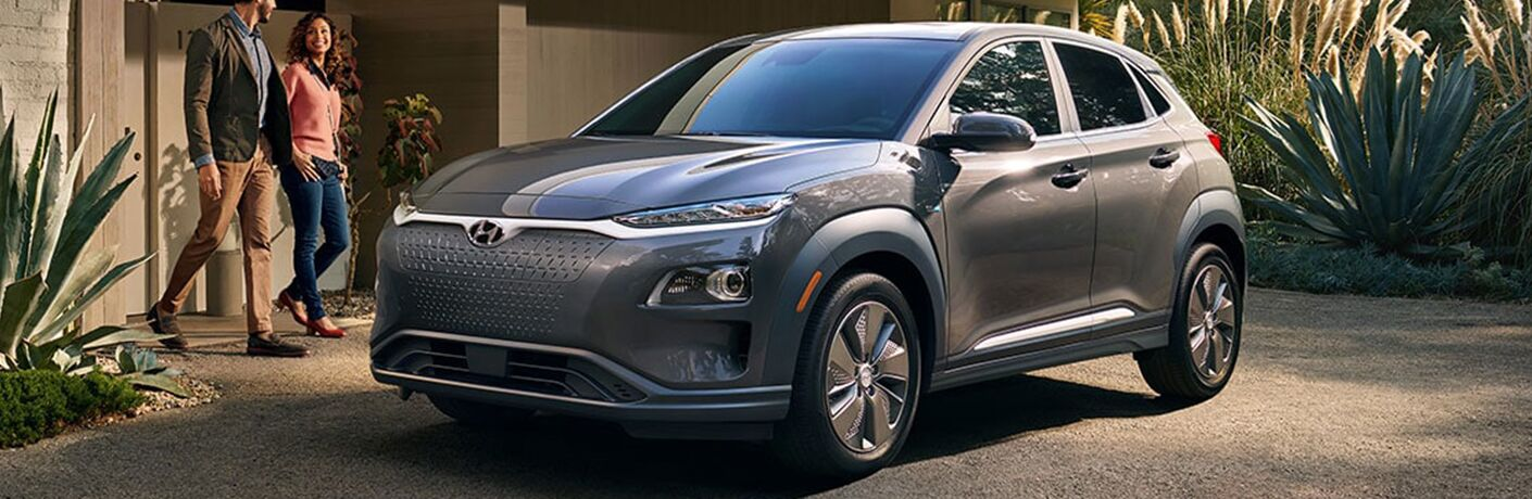 side view of a silver 2019 Hyundai Kona Electric