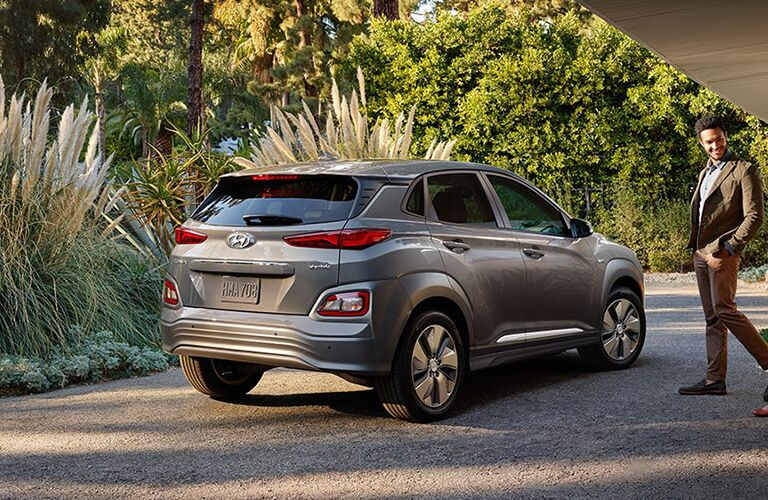 rear view of a silver 2019 Hyundai Kona Electric