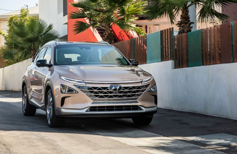 front view of a tan 2019 Hyundai Nexo