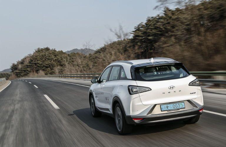 rear view of a white 2019 Hyundai Nexo