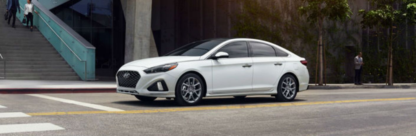 side view of a white 2019 Hyundai Sonata