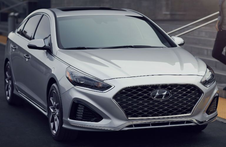 front view of a silver 2019 Hyundai Sonata