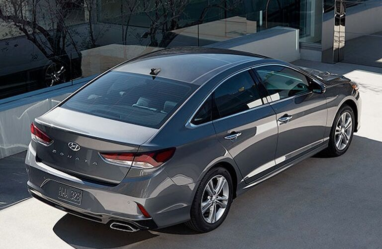 high angle rear view of a silver 2019 Hyundai Sonata Hybrid
