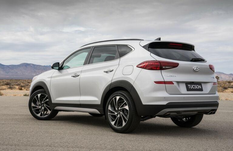 rear view of a white 2019 Hyundai Tucson