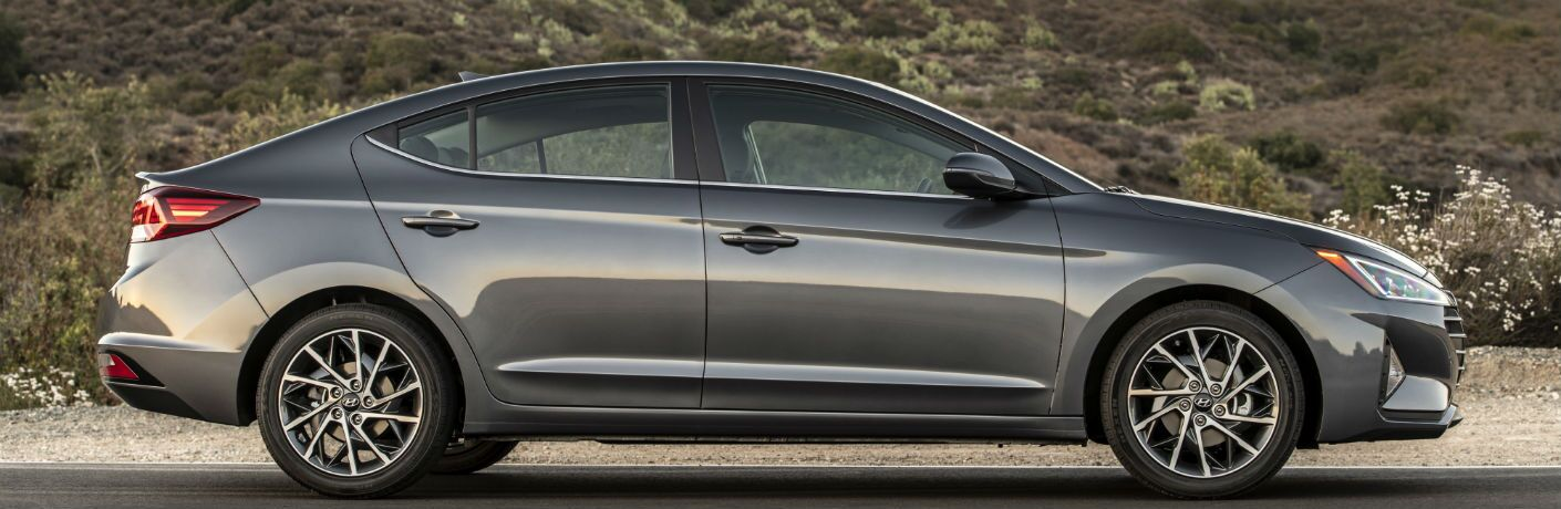 side view of a silver 2020 Hyundai Elantra Sport