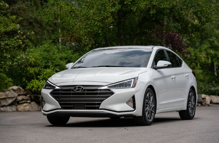 front view of a white 2020 Hyundai Elantra