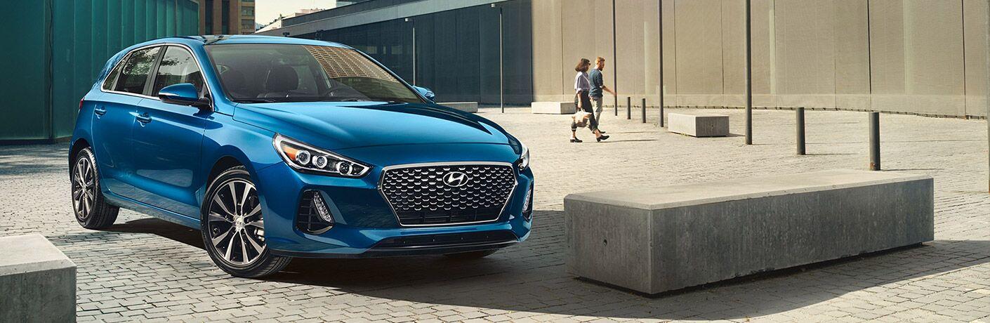 Blue 2020 Hyundai Elantra in an open plaza