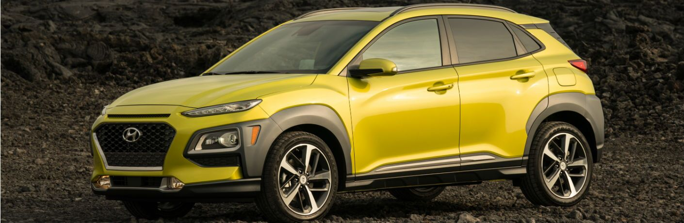 side view of a yellow 2020 Hyundai Kona
