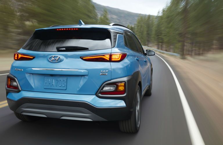 rear view of a blue 2020 Hyundai Kona