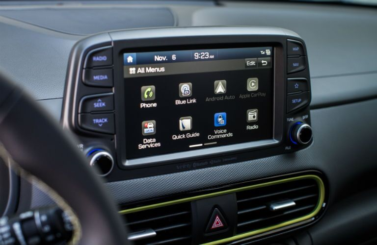 infotainment system in a 2020 Hyundai Kona