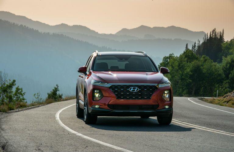 front view of a red 2020 Hyundai Santa Fe