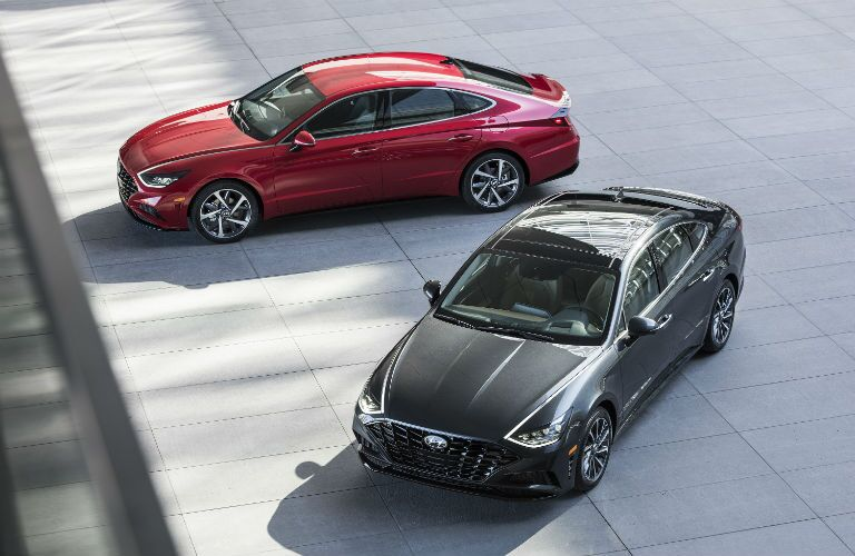high angle view of two 2020 Hyundai Sonata models